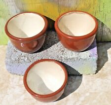 Set of 3 Vintage Pottery Stoneware Bean Pots / Cups