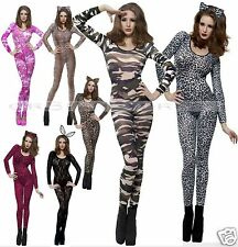 Smiffys Fever Sexy Bodysuit Catsuit Leopard Tiger Zebra Army Fancy Dress Costume