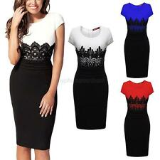 Sexy Womens Lace Short Sleeve Dress Party Evening Cocktail Body-con Mini Dress