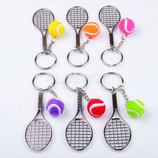 Tennis Ball & Racket Charm Pendant Sports Keyring Keychain Key Ring Chain Gift