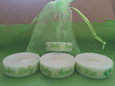 Personalised Candle Tealight Baby Shower Favours Boy Girl , bag bracelet band