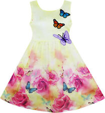 Girls Dress Rose Flower Print Butterfly Embroidery Purple Age 4-12