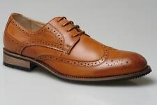 Mens Gents New Tan Brown Leather Lined Lace up Brogues Shoes 6 7 8 9 10 11 12