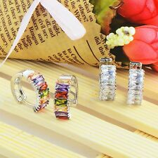 Vintage Womens cute openwork square rainbow crystal silver plated hoop earrings