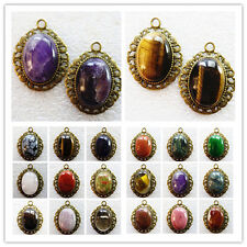 wholesale! Exquisite Bronze Inlay 25x18mm Mixed Gemstone Oval Pendant Bead HY-39