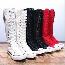 New PUNK EMO Canvas Boots Sneaker Women Girl's Shoes Knee High Lace UP Boots