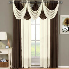 Abri Grommet Crushed Sheer Curtain Panel Window Treatment 2 panels & 3 Valances