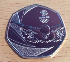 Mega Rare Swimming Olmpic 50p coin. Fifty Pence