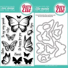 "Avery Elle ""BUTTERFLIES"" Clear Stamps Only OR Clear Stamp and Die Bundle"