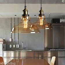 Vintage Retro Cafe Amber Glass Ceiling Pendant Light LED Industrial Lamp Fitting