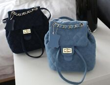 Denim or Faux Suede Leather Quilted Bucket Chain Strap Backpack Flip Handbag