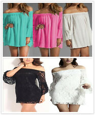 New Sexy Womens Ladies Lace Off-shoulder Dress Summer Backless Short Mini Dress