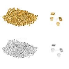 Wholesale 600pcs Silver Plated/Golden Tube Beads Crimp End Spacer Beads 1.5/2mm