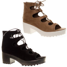 Women's Chunky Platform Lace Up Gladiator Sandals Tie Up Peep Toe Shoe Boots