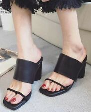Women Open Toe Mules Sandals Black or White Slip-On Shoes