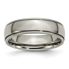 Chisel Titanium Grooved and Beaded Edge 6mm Polished Band Ring TB132