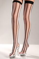 sexy BE WICKED fishnet VERTICAL stripes STRIPED spandex thigh HIGHS stockings