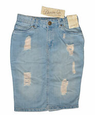 Womens Ladies Primark denim ripped lightwash skirt above the knee size 6-20 BNWT