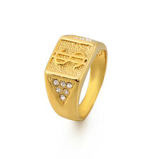 "Handsome 18K Yellow Gold Filled CZ Men's ""$"" Band Ring,Size 9,10,11"