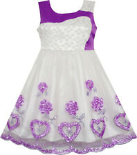 Flower Girl Dress Lace Embroidered Flower Heart Tulle Wedding Purple Size 4-10