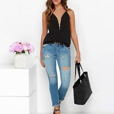Hot Women Spaghetti Strap Zipper Vest Shirt Beach Party Camisole Tank Top Black
