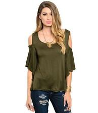Cold Shoulder Ruffle Sleeve Blouse New Fashion Cut Out Shoulder Round Neck Shirt