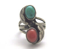 Vintage Estate Old Pawn Sterling Silver Turquoise & Coral Ring Size 4