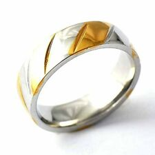 Simple Fashion Gold Filled 2 Tone Mens Womens Band Love Ring Size 8-12