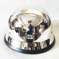 2016 DOT Motorcycle German Helmet Chrome Half Helmets Chopper Cruiser M/L/XL NEW