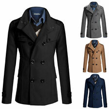 NEW Men's Stylish Double Breasted Warmer Winter Trench Coat Overcoat Jacket 2016