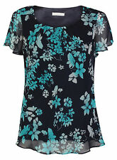 Ex Jacques Vert Black Green Floral Print Blouse Top Size 10-22