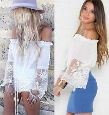 White Sheer Mesh Lace Trim Off The Shoulder Long Bell Sleeve Boho Blouse NWT