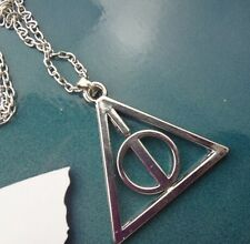 Anime Harry potter Deathly Hallows Triangle Circle Pendant Chain Necklace