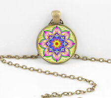 Floral Lily Flowers Kaleidoscope Mandala Pretty Pendant Necklace Key Chain