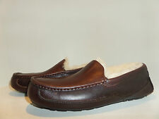 UGG Australia authentic MENS ASCOT Luxurious Leather SLIPPERS Leather Ret$140