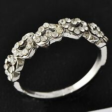 Trendy Womens White Gold Filled Ring Clear CZ Heart Love Band Ring Size 6 7 8 9