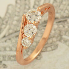 Fashion Womens Rose Gold Filled Flawless 3-CZ wedding Promise Ring 6 7