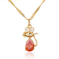 18K Gold Plated Multicolor Zirconia Cute Cat Pendant March Long Chain Necklace