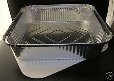 """5 x LARGE ALUMINIUM FOIL FOOD GRADE CONTAINERS TRAYS + LIDS SIZE - 9"""" x 9"""" x 2"""""""