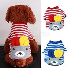 Pet Dog Cartoon Sleeve Pullover Striped Shirt Coat Clothes Apparel Size XS-XL