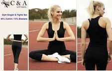 Ladies Girls Womens Cotton Action Back Gym Singlet & 3/4 Length Gym Tights Set