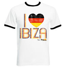 I Love Ibiza Men's T-shirt Germany Flag Vintage Top White Black Green