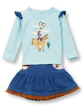 Le Top Little Girls Howdy! Western Rodeo Cowgirl Fringed Shirt and Skirt Set New