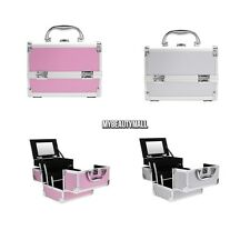 Aluminum Makeup Train Case Jewelry Box Cosmetic Organizer Lockable Convenient