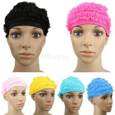 Girls Swim Swimming Lace Cap Bathing Hat Water Sport Pool Beach Long Hair Cap