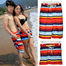 5x(CF Lady Mens Couple Rainbow Stripe Zebra Beach Surf Board Swim Shorts XL-XXL)