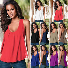 Stylish Women O-neck Chiffon Sleeveless Blouse Casual Vest Tank Tops Plus Size