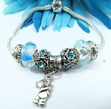 European Style Sterling Silver Bracelet with Teal Murano Beads With Bear Charm