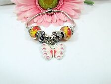 European Style Sterling Silver Multicolor Murano Beads With Pink Butterfly