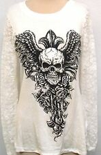 Tattoo Cross Juniors Rhinestone Skull Lace Back Slashed goth punk nwt hardy whte